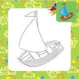 Sailboat. Coloring page. Stock Photos