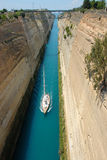 Sailboat in the Corinth Canal Stock Photography