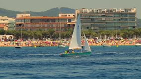 Sailboat course in Spanish Costa Brava, town Palamos. 15. 07. 2018 Spain stock video footage