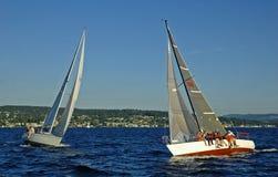 Sailboat Crash. Two sailboats on a collision course Stock Photo