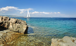 Sailboat cruising in the sea, summertime, travel photo Stock Photography