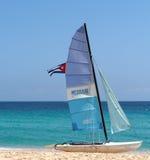 Sailboat With Cuban Flag Stock Photos