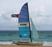 Sailboat With Cuban Flag Stock Image