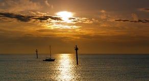 Sailboat at dawn Stock Image