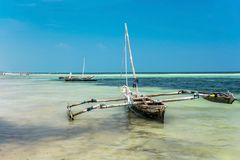 Sailboat at the diani beach in Kenya. Beautiful view on ocean. stock photography