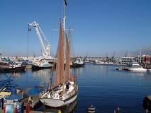 Sailboat at dock in marina. Sailboat fueling at dock in marina Stock Photos