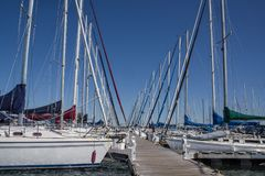 Sailboat Dock. Rows of sailing sloops face one another across a wooden pier on Lake Superior in northern Wisconsin royalty free stock photos