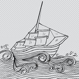 Sailboat. Doodle style sketch of a sailboat Stock Photography