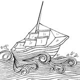 Sailboat. Doodle style sketch of a sailboat Royalty Free Stock Images