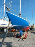 Sailboat in dry dock Royalty Free Stock Photography