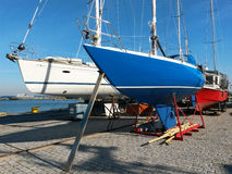Sailboat in dry dock Royalty Free Stock Image