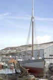 Sailboat in dry dock Stock Image