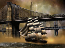 Sailboat on East River. A sailboat sailing the East river, close to the Brooklyn bridge, with the Manhattan bridge at the background vector illustration