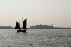 Sailboat on Elbe Stock Photos