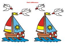 Sailboat, find 5 differences. Sailboat and seagulls. Game for children. Find 5 differences Royalty Free Stock Image