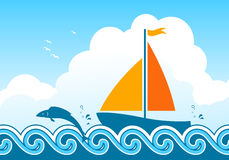 Sailboat and fish. Illustrated fish jumping around sailboat floating on sea Royalty Free Stock Image