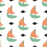 Sailboat and fish seamless child vector funny pattern. Sailboat and fish seamless child vector funny pattern in blue and orange colors. Boat with fish marine Stock Image