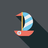 Sailboat flat icon with long shadow. Cartoon vector illustration royalty free illustration