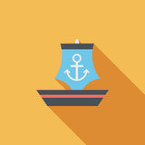 Sailboat flat icon with long shadow Royalty Free Stock Image