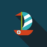 Sailboat flat icon with long shadow. Cartoon vector illustration stock illustration