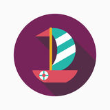 Sailboat flat icon with long shadow. Vector illustration file stock illustration