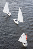 Sailboat floating on the river Volga Stock Images