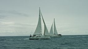 Sailboat floating on the sea stock video footage