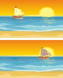 Sailboat floating on the sea. Vector flat illustration. Royalty Free Stock Photography