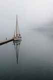 Sailboat  and fog Royalty Free Stock Image
