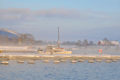 Sailboat in foggy winter Stock Images