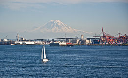 Sailboat Foreground Mt Rainier Washington landscape Stock Photography