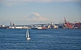 Sailboat Foreground Mt Rainier Washington landscape Stock Photography