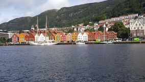 Sailboat in front of Bryggen Royalty Free Stock Photography