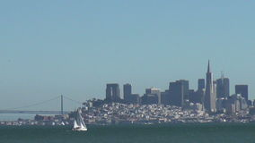 Sailboat in front of San Francisco skyline stock video footage