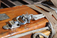 Sailboat Gear aAt Harbor. Fittings On An Old Sailboat Royalty Free Stock Photos