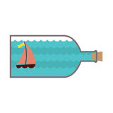 Sailboat In A Glass Bottle Stock Photo