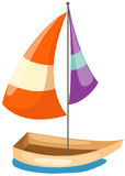 Sailboat gliding. Illustration of isolated a sailboat gliding on white Royalty Free Stock Images
