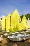 Sailboat. Group of yellow sailboat in thailand beach Stock Image