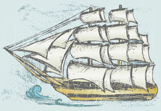Sailboat. Grunge style. Vector illustration stock illustration