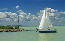 Sailboat in the harbor Royalty Free Stock Photo