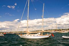 Sailboat in harbor Stock Photography