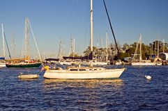 Sailboat in harbor Royalty Free Stock Photography