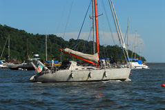 Sailboat in harbor Royalty Free Stock Images