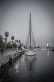 Sailboat in harbor. In Barcelona stock images