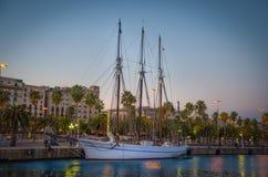 Sailboat in harbor. In Barcelona stock photography