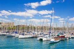 Sailboat harbor, beautiful sail yachts in the sea Stock Photo