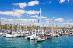 Sailboat harbor, beautiful sail yachts in the sea Stock Images
