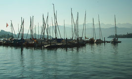 Sailboat harbor in evening Stock Photography
