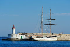 Sailboat in the harbor of Ibiza Royalty Free Stock Photo
