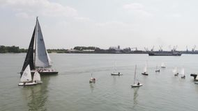A sailboat harbor with a large number of sailing boats. Sailing harbor. Aerial stock video